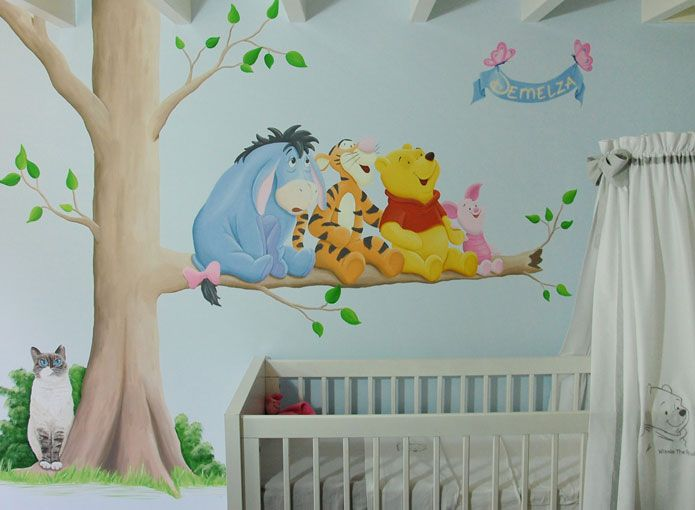 Muurschildering met kat (huisdier) en cartoon figuurtjes Winnie the Pooh. Gemaakt door BIM Muurschildering.   mural painting pet cat