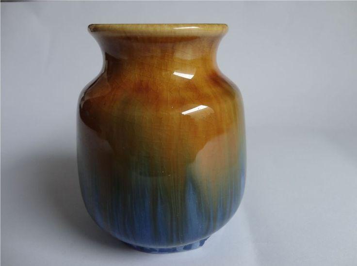9cm x 8cm Vintage Regal Mashman Pottery Drip Glaze Vase