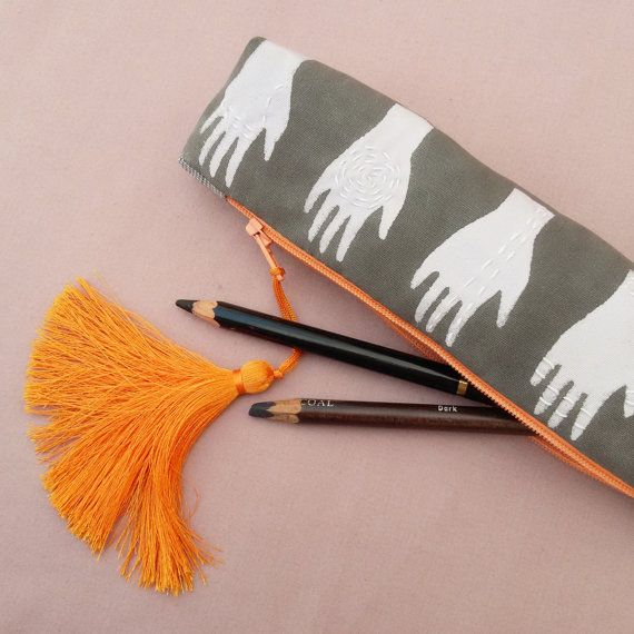 Hand painted and embroidered black and white  boho palmistry pencil case / pouch with orange tassel