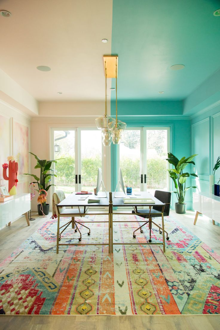 Symmetry, color, and a bright open office space, oh my! So much inspiration in this room!