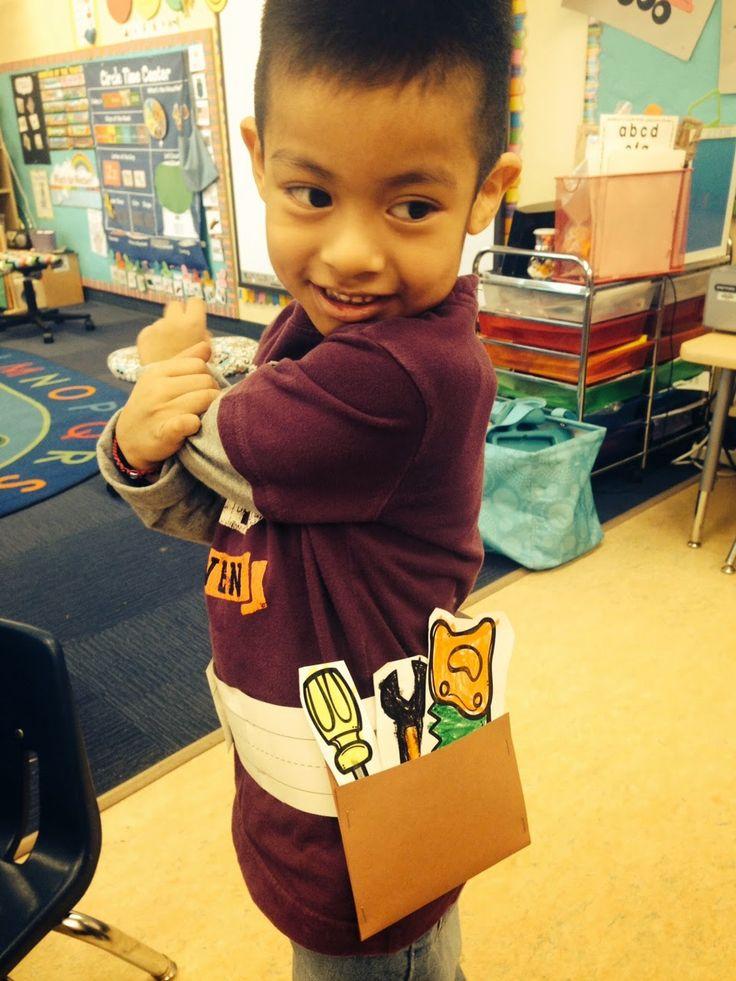 Tool belt and tools craft for kids, community helper craft