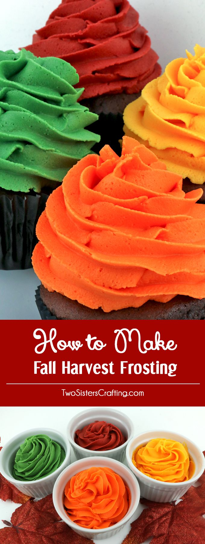 How to Make Fall Harvest Frosting - use our formula to make delicious and gorgeous Fall Harvest colored frosting for Fall and Thanksgiving desserts.  Burgundy, Sage, Gold and Orange Frosting couldn't be easier with our delicious Buttercream Frosting recipe and our tried and true food coloring formulas.  Turn your Fall treats and Thanksgiving desserts from fine to spectacular with our Fall Harvest icing recipes.  Pin this Thanksgiving Frosting Recipe for later and follow us for more great…