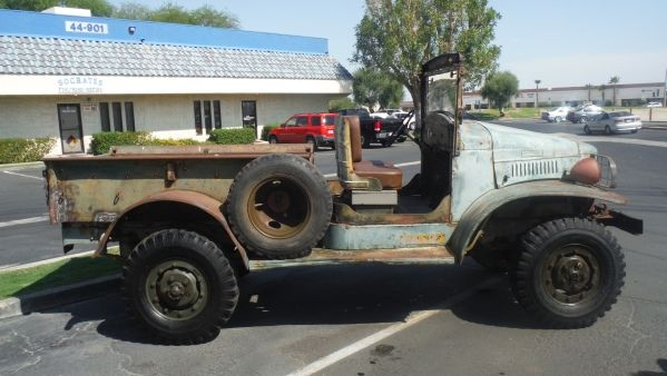 WWII 1941 Dodge WC-3 Open-cab Weapons Carrier. 6 cyl. 4 speed, Runs great…new brakes, new battery, new windshield glass, new wood bed floor, new upholstery,  COMBAT RIMS.  Nice running boards…no cancer anywhere. Data plate matches frame VIN, Calif. title. $9850