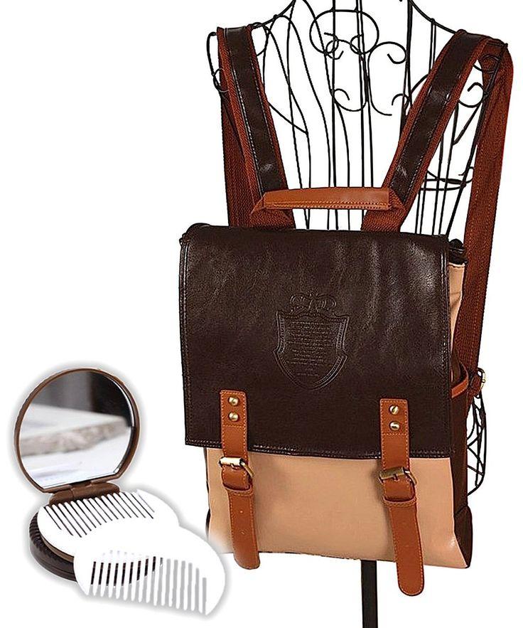 Amazon.co.jp: 欧州風 英国 デザイン リュックサック バッグ 41×32×10cm レディース メンズ 手鏡 クッキー (茶): 服&ファッション小物