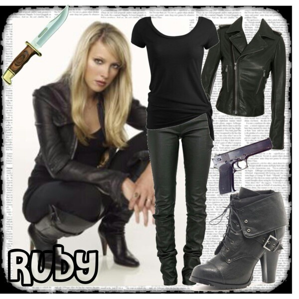 SUPERNATURAL! :) Halloween costume.  Ruby. Both Blonde and Dark haired Ruby wear the same clothes for the most part.