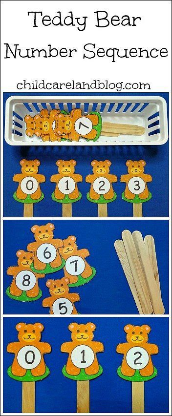 Teddy Bear Number Sequence Sticks free til August 11 - Pinned by @PediaStaff – Please Visit ht.ly/63sNtfor all our pediatric therapy pins