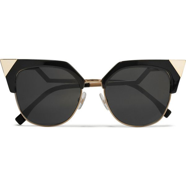 Fendi Iridia cat-eye gold-tone and acetate sunglasses (655 AUD) ❤ liked on Polyvore featuring accessories, eyewear, sunglasses, glasses, black, cat eye sunglasses, cat eye glasses, uv protection glasses, dot glasses and fendi sunglasses