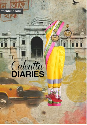 'Calcutta Diaries' by me on Limeroad featuring Multi Color Sarees with None Multi Color Earrings