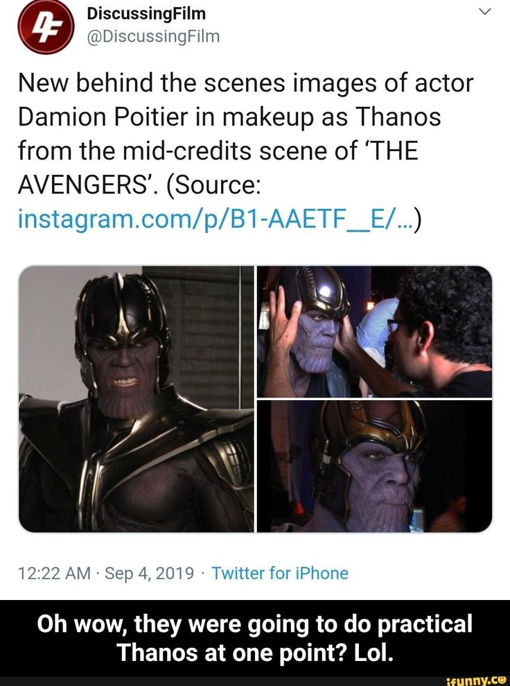 New Behind The Scenes Images Of Actor Damion Poitier In Makeup As Thanos From The Mid Credits Scene Of The Avengers Source Instagram Com P B1 Aaetf E Scene Image Actors Avengers