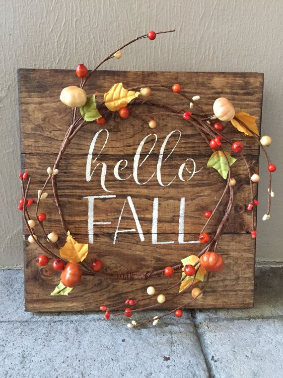 Rustic fall wood pallet sign w berry pumpkin garland
