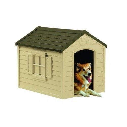 Medium Dog House Crate Outdoor Deluxe Pet House SunCast w/Vinyl Doors Green New