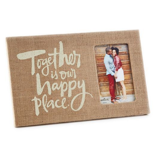 Happy Place Burlap-Wrapped 4x6 Photo Frame