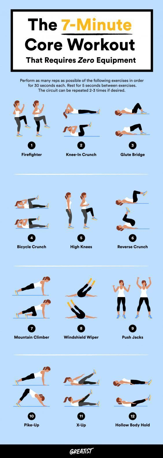 No equipment, no excuses. #greatist https://greatist.com/fitness/abs-workout-7-minute-no-equipment-core-workout(Fitness Workouts)