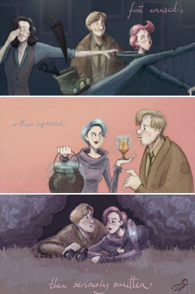 "Lupin and Tonks - ""Remus, so often melancholy and lonely, was first amused, then impressed, then seriously smitten by the young witch."" - Pottermore"