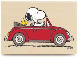*Peanuts Snoopy Rubber Stamp Driving with his buddy Woodstock in a VW Beetle - very cooool