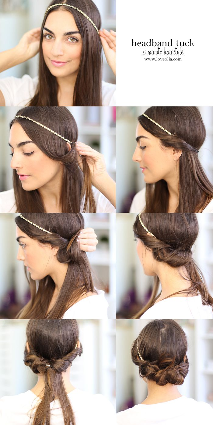 Easy Hairstyle for Short or Long Hair. Headband Tuck! So Simple