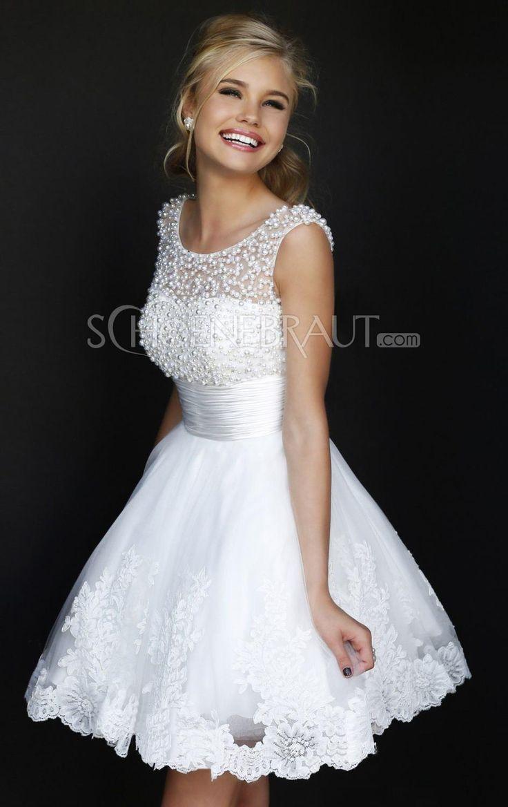 Verlobungskleider Weiße Kurze Brautkleider Elegante Spitze Brautkleider mit Perlen Kleine Weiße Kleine Schwarze [#UD9104] - schoenebraut.com