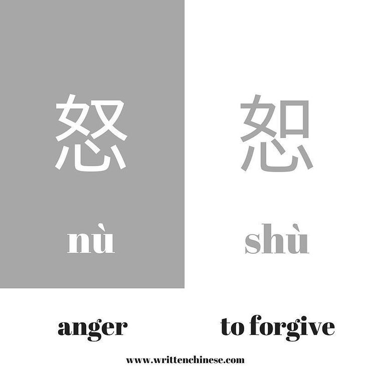 The 怒 (nù) and 恕 (shù) characters share the same bottom radical 心 (xīn) which provides the meaning to these emotional characters. 怒 (nù) means anger whilst 恕 (shù) means to forgive. How do you remember 怒 (nù) and 恕 (shù)? Share your ideas with us!  #writtenchinesebigrams #writtenchinesedictionary hanzi #learnchinesecharacters #learnchinese #chinesedictionary #china #vocab #learning #studychinese #putonghua #mandarin