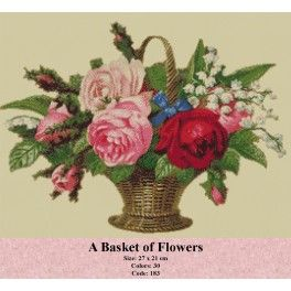 Needlepoint Cross Stitch Kit - A Basket of Flowers