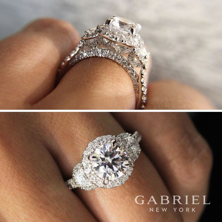 Gabriel NY - Voted #1 Most Preferred Fine Jewelry and Bridal Brand. 18k White Gold Round 3 Stones Halo  Engagement Ring