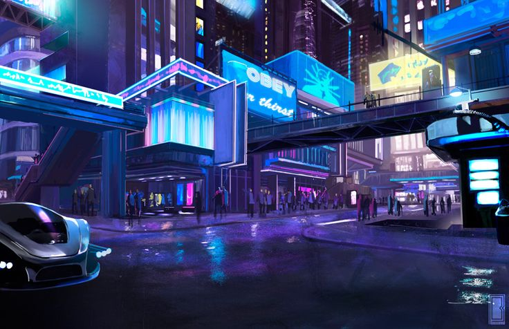SK242 SM - Sector 1 District 2 by BadbrushArt | Digital Art / Drawings & Paintings / Sci-Fi | Futuristic Concept City Metropolis Cyberpunk