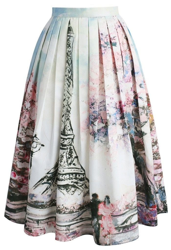 Love in Paris Printed Midi Skirt chicwish.com