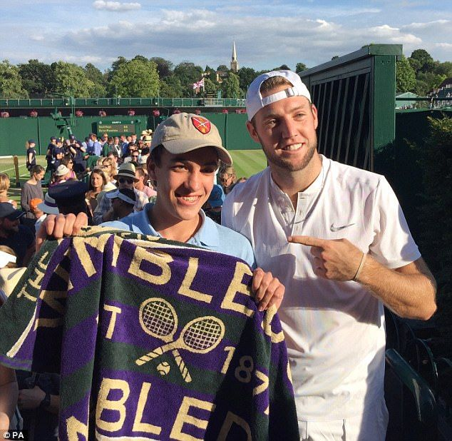 Wimbledon 2017 - Boy who had Jack Sock's towel snatched away finally meets his idol   Peter Woodville, 14, who is from Philadelphia in the United States, had been calling out to Sock to throw the towel to him at the end of the player's singles match on Day 2 of the tournament & was 'shocked' when it was snatched from him, his mother said.