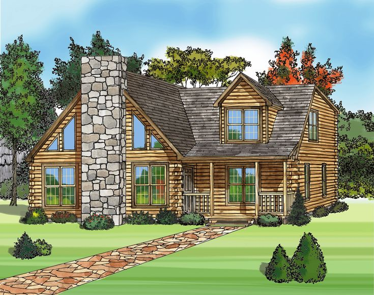 Chalet style modular log homes