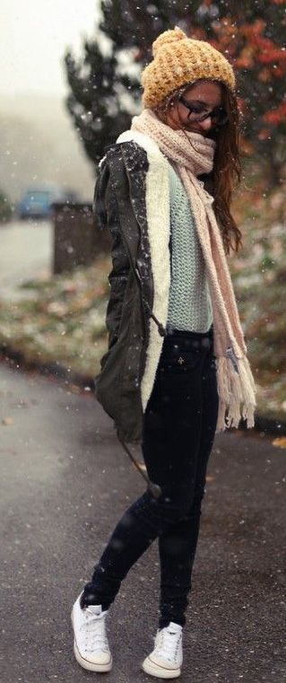 winter outfits >> Style outfit clothing women apparel fashion cap scarf sneakers white jeans coat cute girl