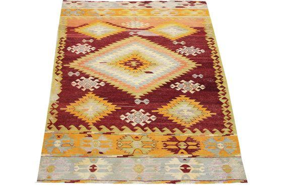 Handmade Turkish Kilim rugs 96 x 54 Feet Natural by stripepattern