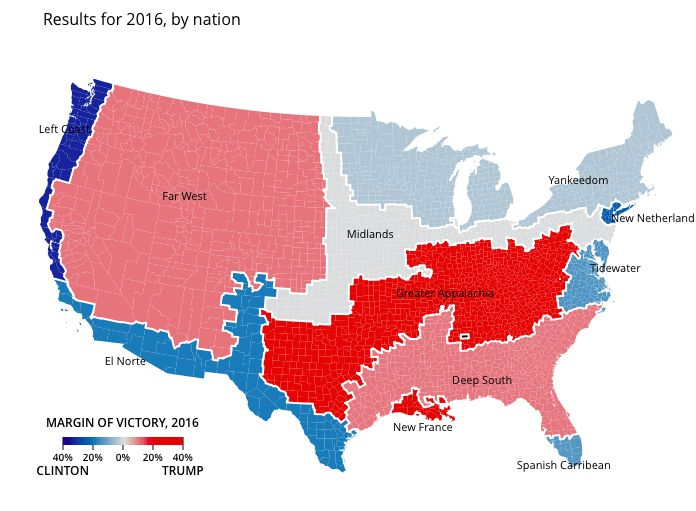 American Nations - results of the 2016 Presidential Election