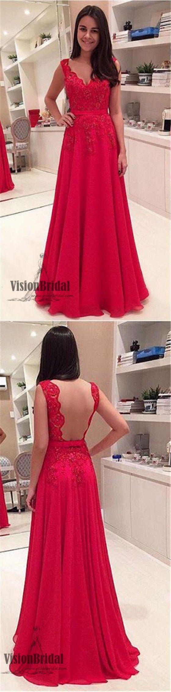 Red Lace Rhinestone Open Back Prom Dress, A-Line Chiffon Floor Length Prom Dress, Prom Dresses, VB0216 #promdress