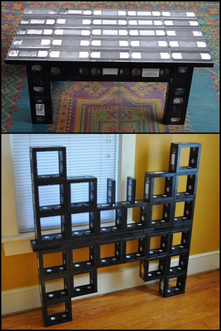 """Used VHS Tapes and contact cement used to make tables and a """"VHS Butterfly"""" bySam Hensley."""