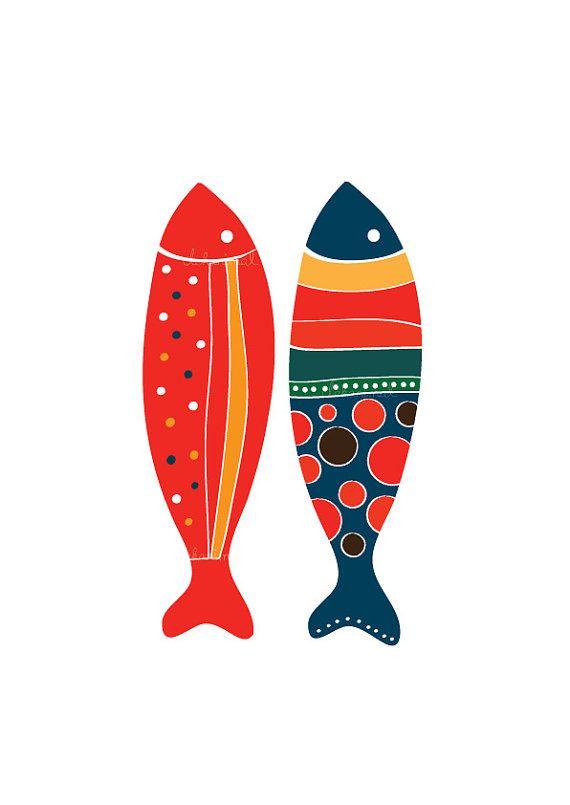 Coloridos peces Art Print  rojo & Marina de guerra  por dekanimal