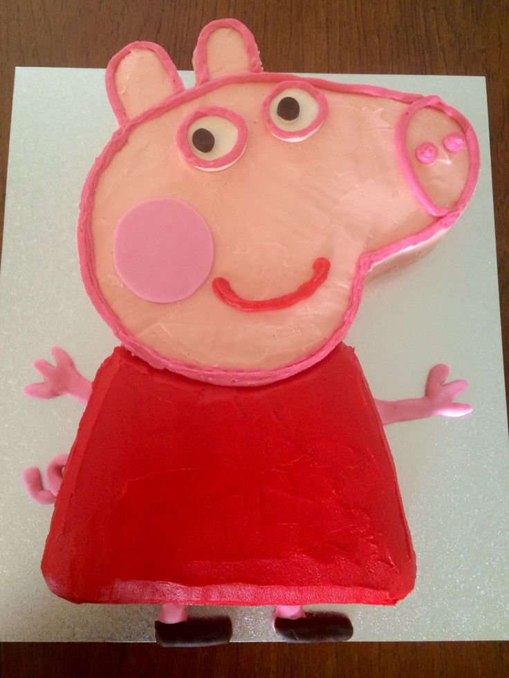 Peppa Pig birthday cake - chocolate raspberry cake & buttercream icing using natural food colours.