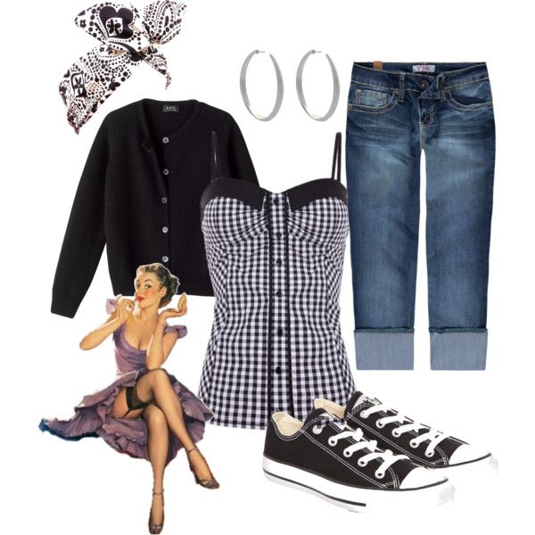very day by elsa-morales on Polyvore featuring TALLY WEiJL, YMI Jeans, Converse, Miso, rockabilly and vintage