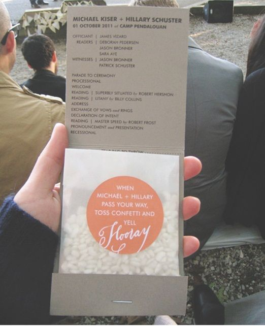Lovely idea for Order of Service - Looks like a giant matchstick holder and love the rhyme on the confetti
