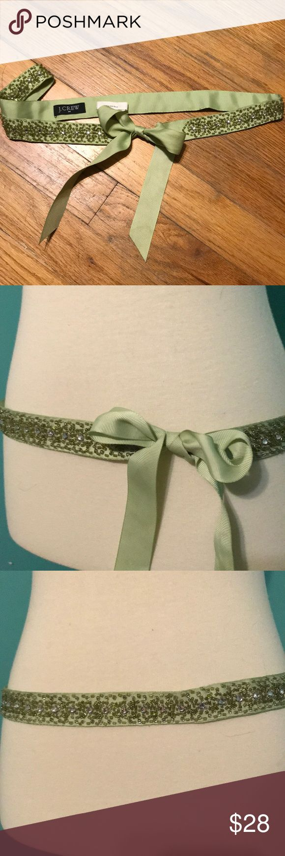 J crew sparkly beaded ribbon belt green Sparkling beaded green ribbon belt   One small imperfection on inside of green belt - please see last photo   Never worn, been sitting in closet  Light green J. Crew Accessories Belts
