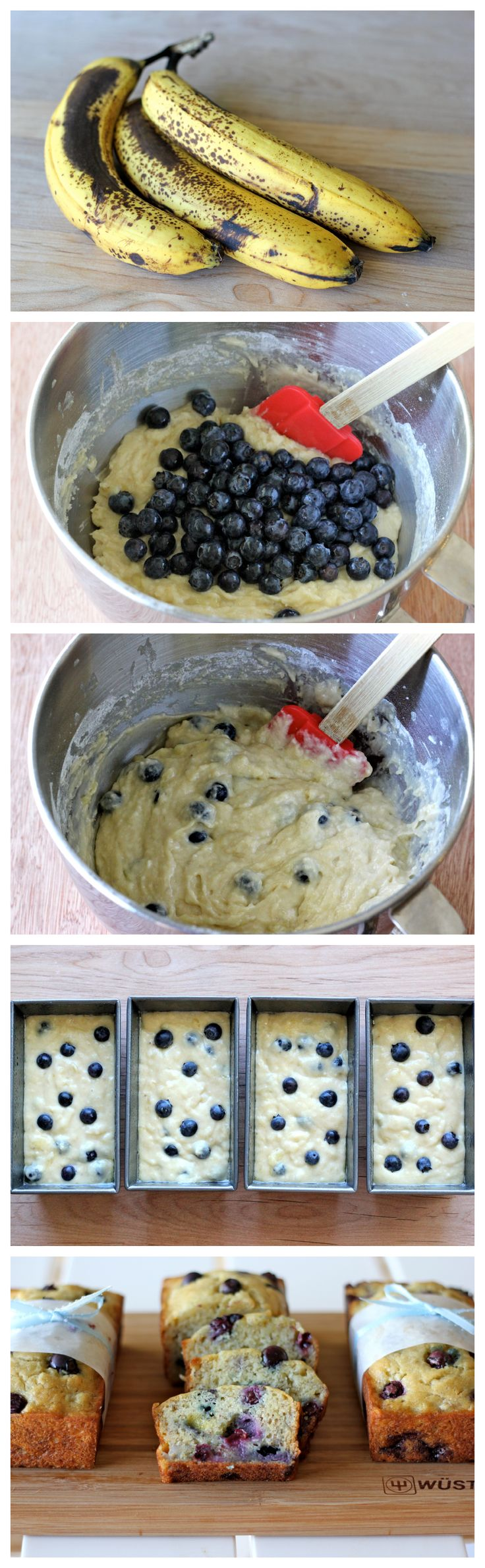 Buttermilk Banana Blueberry Bread - A great way to use up those lingering, spotty bananas, and the perfect holiday gift that everyone will love!