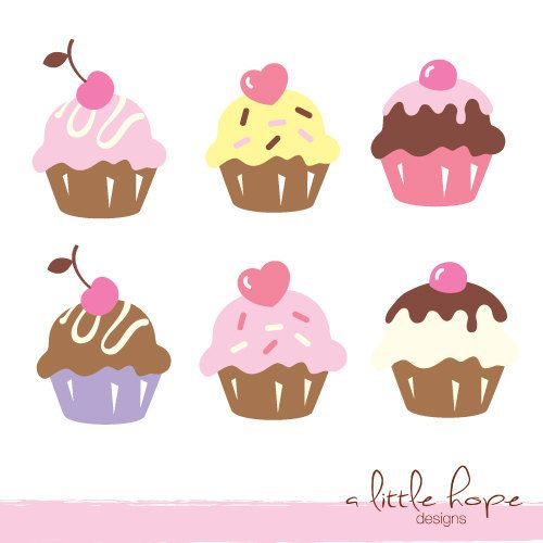 Six Cute Cupcakes Digital Clip Art - PNG and JPG files instant download V.1