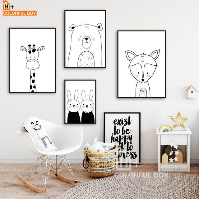 COLORFULBOY Lapin Ours Girafe Renard Mur Art Imprimer Toile Peinture Nordique Affiche Noir Blanc Mur Photos Bébé Chambre Décor   – Interieur