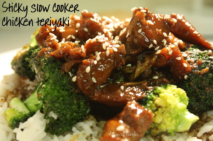 Sticky slow cooker chicken teriyaki recipe fried for Cooking chicken thighs in crock pot