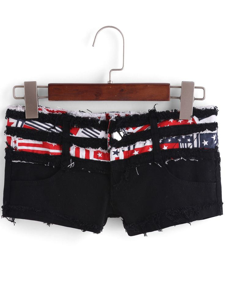 Black Fringe Stars Print Denim Shorts 14.67