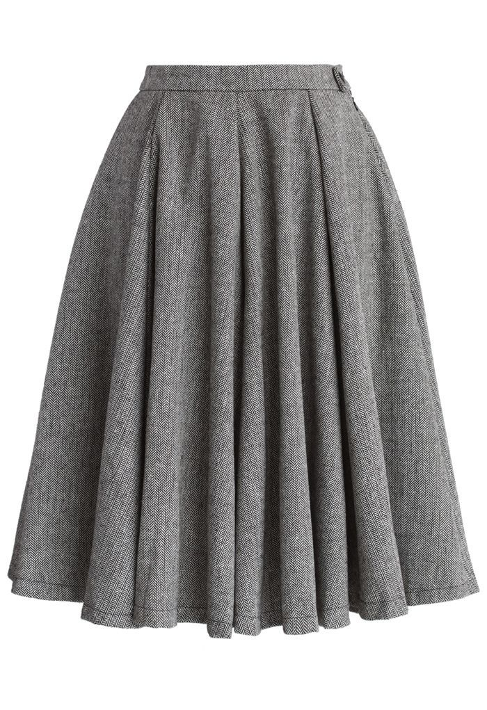 Classic Twill A-line Panel Skirt - Skirt - Bottoms - Retro, Indie and Unique Fashion