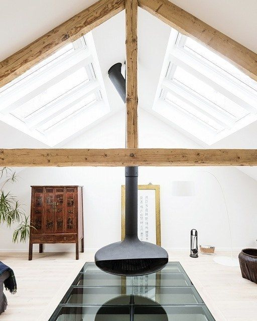 This Triangular Ceiling Supported With The Wooden Beams Is A Really Great  Contrast To The White