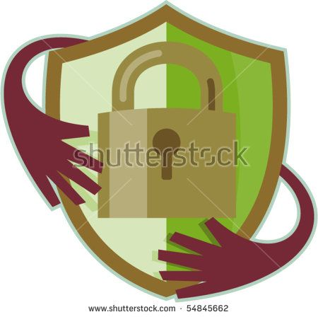 vector illustration of a Padlock with shield and hands reaching in isolated on white background #padlock #retro #illustration