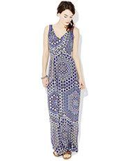 Safina Geo Print Embroidered Maxi Dress