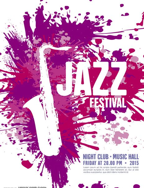 Free Stock vector Musik Jazz Festival Plakat Vorlage mit Saxophon #302471
