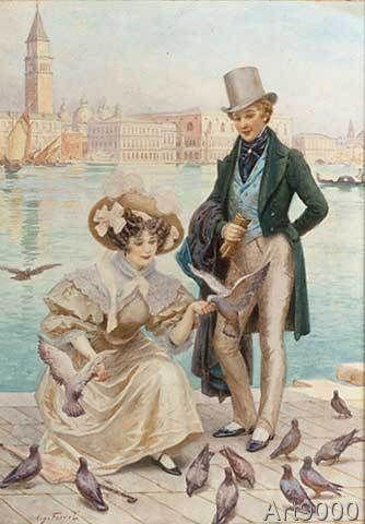 20. Jahrhundert - Junges Paar in Venedig / A.Fervel