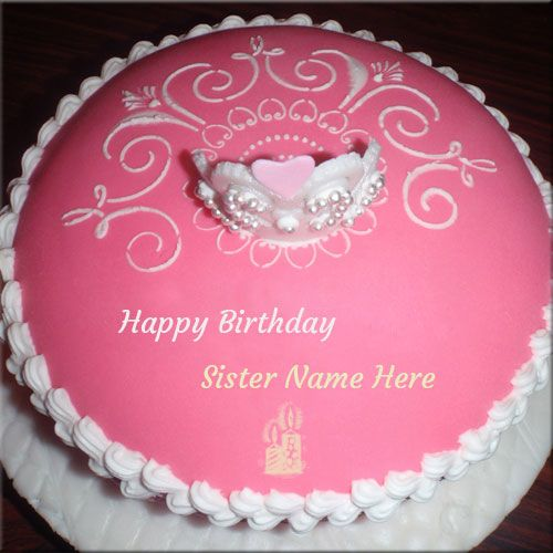 Write Name On Happy Birthday Cake For Sister Online Create